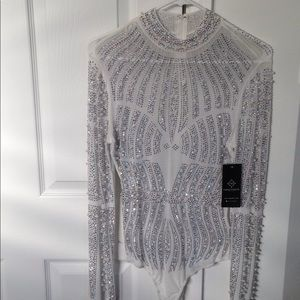 White crystal mesh body suit